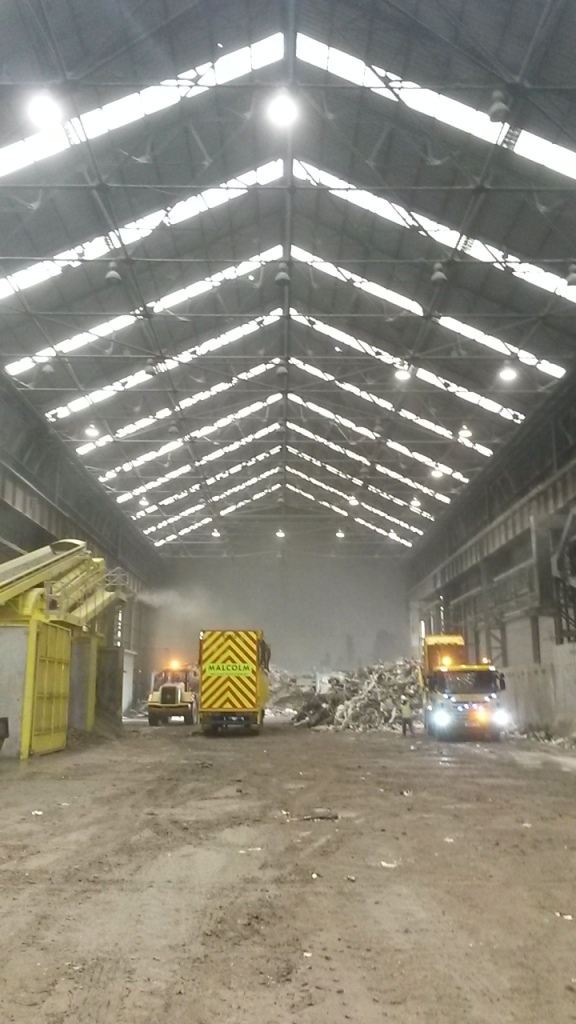 The existing construction and demolition waste recycling operation inside the shed